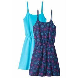 Sukienka letnia (2 szt. w opak.) bonprix kobaltowo-turkusowy