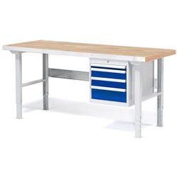 Stół warsztatowy Solid, zestaw z 4 szufladami, 500 kg, 1500x800 mm, dąb