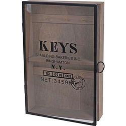 Szafka na klucze - stylowy wieszak na drobiazgi ze szklanymi drzwiczkami