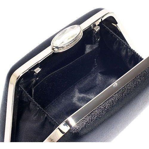 Torebki, Szykowna gładka torebka wizytowa z kryształowym zamknięciem czarna - czarny