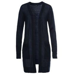 Długi sweter bez zapięcia bonprix ciemnoniebieski