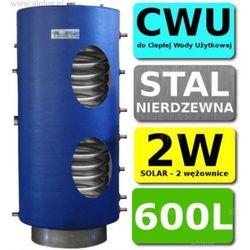 CHEŁCHOWSKI 600L 2-wężownice Nierdzewka Solar, 2W Zbiornik Zasobnik Wymiennik Bojler, Nierdzewna Stal, Wysyłka GRATIS