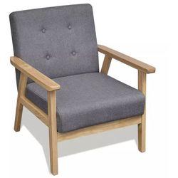 vidaXL Fotel tapicerowany tkaniną, jasnoszary Darmowa wysyłka i zwroty