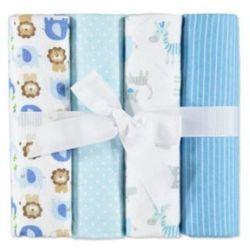 PINK OR BLUE Flanelowe pieluszki higieniczne 4 szt. kolor niebieski