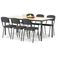 Meble do restauracji i kawiarni, Zestaw mebli do stołówki, stół 1800x800 mm, brzoza + 6 krzeseł, skai/czarny