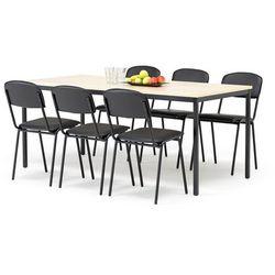 Zestaw mebli do stołówki, stół 1800x800 mm, brzoza + 6 krzeseł, skai/czarny