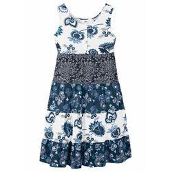 Sukienka dziewczęca z dżerseju bonprix biel wełny - niebieski dżins - ciemnoniebieski