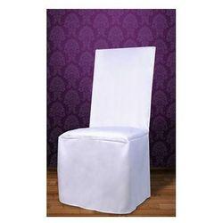 Pokrowiec na krzesło z satyny - biały - ślub - 1 szt.