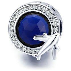 Rodowany srebrny charms do pandora samolot plane podróż cyrkonie srebro 925 GS197