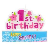 Pozostałe artykuły szkolne, Świeczka na pikerach 1st Birthday różowa