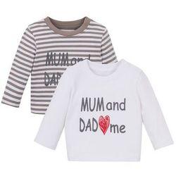 Koszulka niemowlęca z długim rękawem (2 szt.), bawełna organiczna bonprix biało-szary