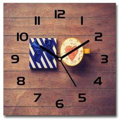 Zegar szklany kwadratowy Kawa i prezent