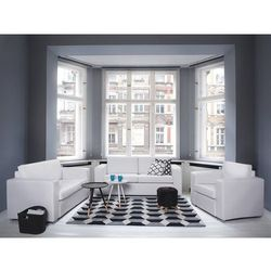 Zestaw wypoczynkowy biały - skórzany - dwie sofy - fotel - HELSINKI