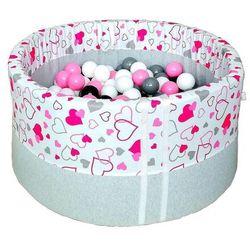 Suchy basen z piłeczkami dla dzieci BabyBall różowe serduszka