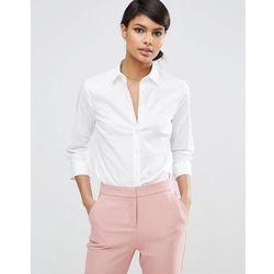 ASOS DESIGN 3/4 sleeve shirt in stretch cotton - White