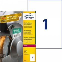 Etykiety polietylenowe ultra resistant Avery Zweckform A4 40ark./op. 210x297mm białe