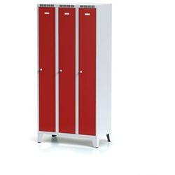 Metalowa szafka ubraniowa trzydrzwiowa, na nogach, czerwone drzwi, zamek obrotowy