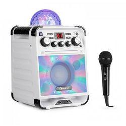 Rockstar LED zestaw do karaoke odtwarzacz CD Bluetooth USBbiały