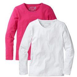 Koszulka z długim rękawem (2 szt.) bonprix ciemnoróżowy + biały