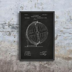 Retro plakat Retro plakat Terrestro Sidereal Globe Patent Grey Nikki Marie Smith