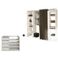 Garderoby i szafy, Zestaw garderoba + mebel do przechowywania EMERIC - Biały i ciemnoszary