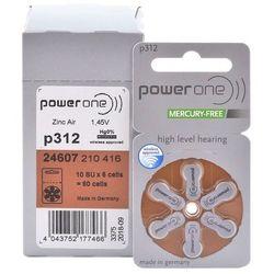 60 x baterie do aparatów słuchowych Power One Varta 312 MF