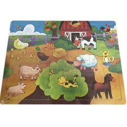 Puzzle drewniane, farma