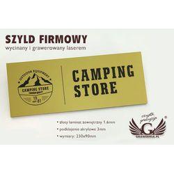 Szyld firmowy - złoty laminat grawerski mat exterior - SZ088 - wym. 275x90mm