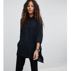 ASOS DESIGN Tall soft shirt in sheer and solid - Black