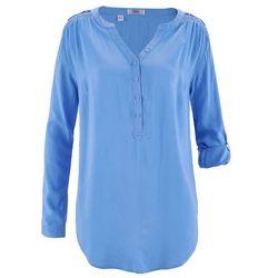 Tunika z wiskozy z dekoltem w serek, długi rękaw bonprix średni niebieski