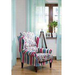 Dekoria Fotel dwukolorowy, kolorowe pasy z przewagą turkusu i różu, 85×107cm, Monet