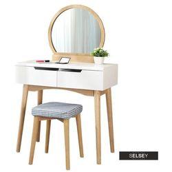 SELSEY Toaletka Gaga biała - dąb z okrągłym lustrem i stołkiem