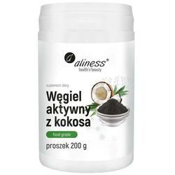 Węgiel aktywny z kokosa spożywczy Food grade 300 mg proszek 200 g Aliness