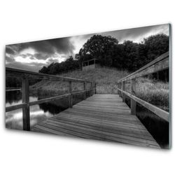 Panel Szklany Molo Czarno-Białe Jezioro