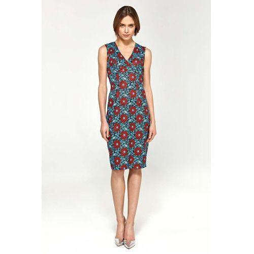Suknie i sukienki, Kwiatowa Elegancka Dopasowana Sukienka do Kolan z Dekoltem V