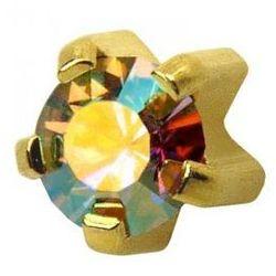 Kolczyki 115 Kryształ górski w pazurkach kolor złoty