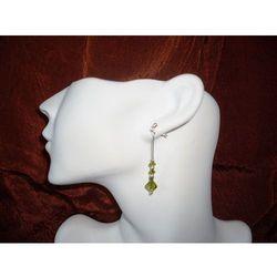 K-00014 Kolczyki z kryształkami Swarovski - oliwkowe rabat 25%