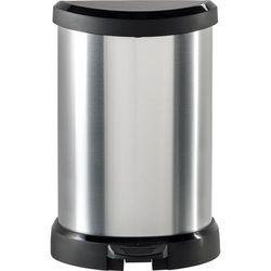 KOSZ NA ŚMIECI CURVER METALIZOWANY 20L - Czarny/Srebrny metalizowany