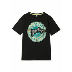 T-shirt chłopięcy z bawełny organicznej bonprix czarno-turkusowy z nadrukiem