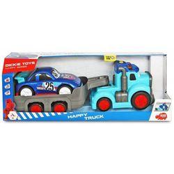 Dickie happy - ciężarówka z przyczepą i autem wyścigowym światło dźwięk