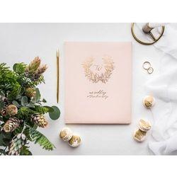 Księga gości weselnych Wianuszek pudrowy róż - 22 kartki