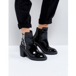 ASOS ELABY Leather Patent Heeled Ankle Boots - Black