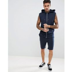 ASOS DESIGN Tracksuit Sleeveless Zip Thru Hoodie/Skinny Shorts In Navy - Navy