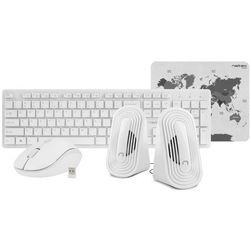 NATEC Zestaw 4 w 1 Tetra bezprzewodowy klawiatura + mysz + głośniki + podkładka biały
