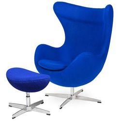 Fotel EGG CLASSIC z podnóżkiem - atramentowy niebieski.29, podstawa chromowana