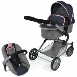 Bayer Chic wózek dla lalek LIA z fotelikiem samochodowym szaro-różowy