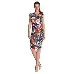 Sukienka ołówkowa z falbanami - kwiaty/granat - S117