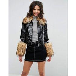 ASOS Leather Look Vinyl Jacket with Faux Fur Trim - Black