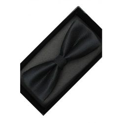 Elegancka Mucha Muszka Męska gotowa czarna w delikatną kratkę tradycyjna M230
