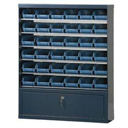 Szafki z plastikowymi pojemnikami i szufladą, 36 boksów